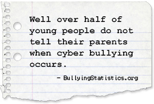 Well over half of young people do not tell their parents when cyber bullying occurs. - BullyingStatics.org