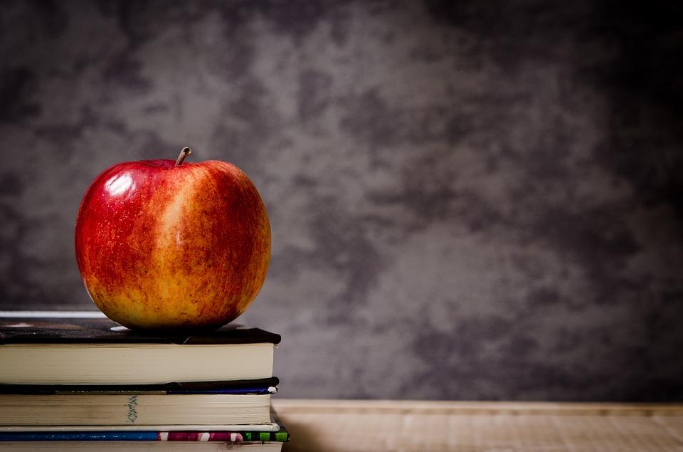 school apple chalkboard books
