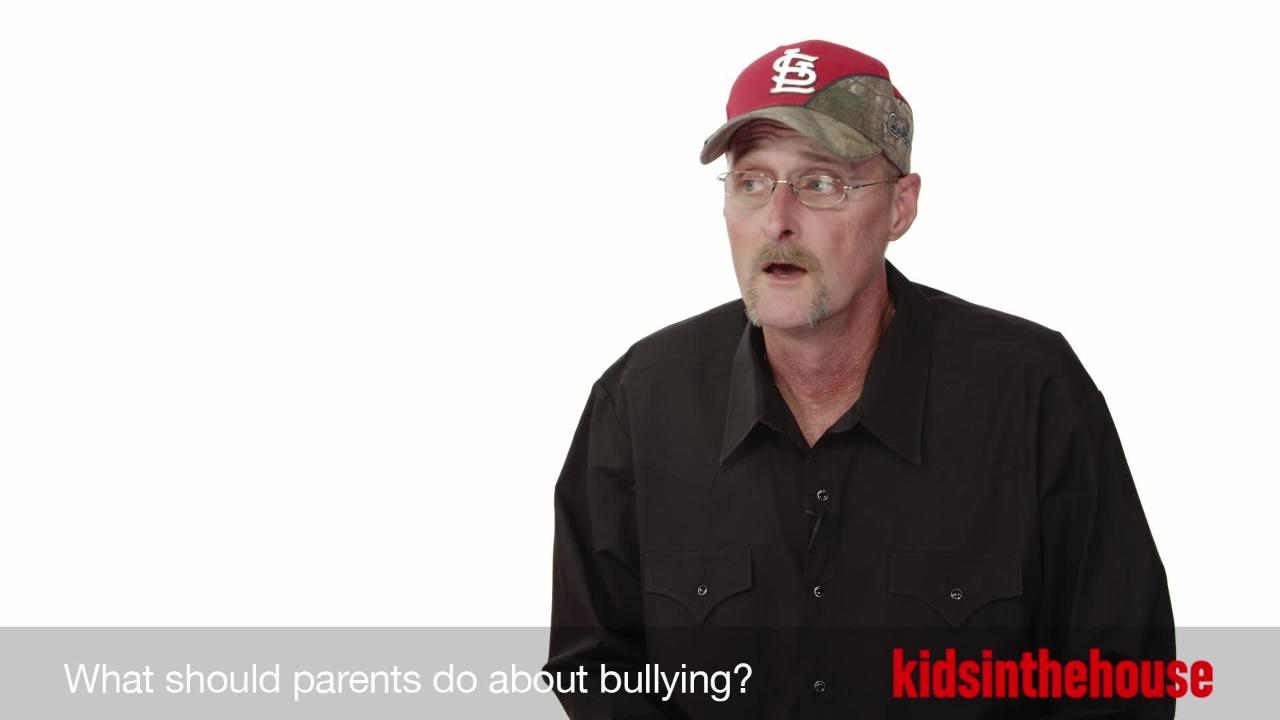 What should parents do about bullying?